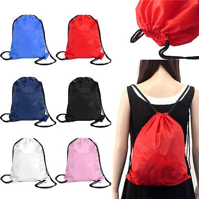 (New Unisex Bag Nylon Drawstring Cinch Sack Sport Travel Outdoor Backpack Bags)