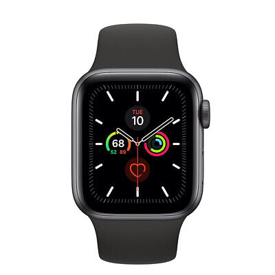 Apple Watch Series 5  40mm Caja de aluminio en gris para Negro Correa deportiva