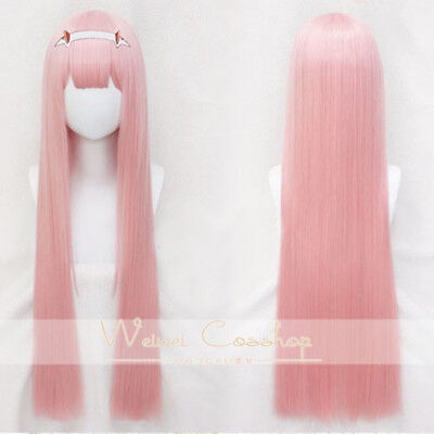 DARLING in the FRANXX 02 ZERO TWO 100cm Long Straight Bangs Pink Cosplay Wig
