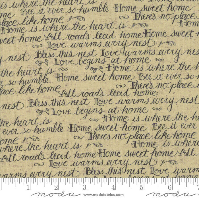 Moda Quilt Fabric Home Script by Kathy Schmitz color Oat by