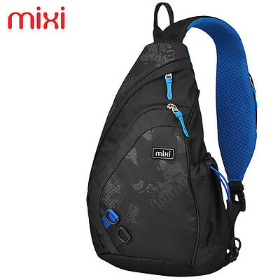"Mixi 17"" Sling Chest Bag Shoulder Backpack Crossbody Bag Daypack - Black n' Blue"
