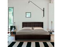 Italian Designer Leather King Size Double Bed with mattress