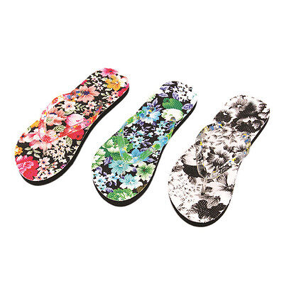 Women Flowers Sandals Home Indoor Flip Flops Flat Shoes Slippers Beach Shoes