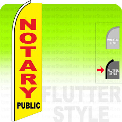 Notary Public Swooper Flag Feather Banner Sign 2.5x11.5 Ft Tall Flutter Style Yb
