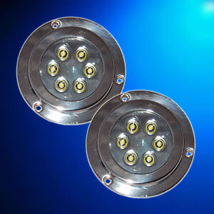 2-x-12W-BLUE-Underwater-LED-Marine-Boat-Light-S-S-12v