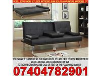 BRAND NEW Italian 3 Seater PU leather Sofa Bed Settee with Cup holder, Small Double bed