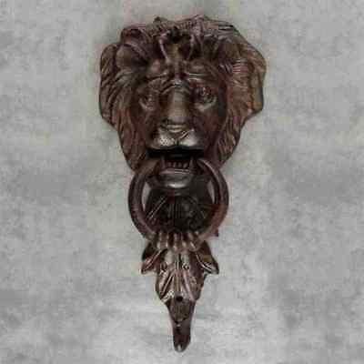 MAJESTIC LION HEAD CAST IRON DOOR KNOCKER ~ ANTIQUED BROWN DOORKNOCKER ~