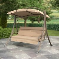 New Patio Swing with Arched Canopy in Beige