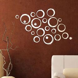 DIY Circles Mirror Style Removable Decal Vinyl Art Wall Clock Sticker Home Decor