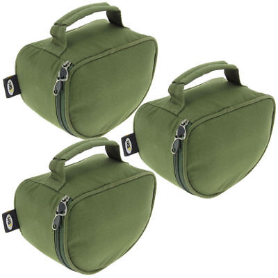 3 x NGT PADDED PIG PIT REEL CASE FOR CARP FISHING TACKLE REELS WITH LINE SPOOL.