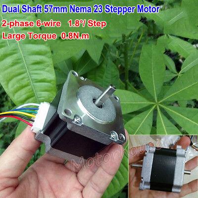 57mm 1.8 Deg Nema 23 2-phase 6-wire Stepper Motor Dual Shaft For 3d Printer Cnc