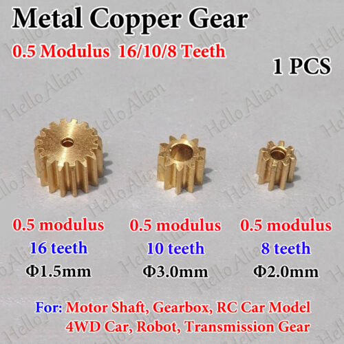 Metal Spindle Copper Gear 0.5 Modulus 8/10/16 Teeth RC 4WD Car Model Motor Gear