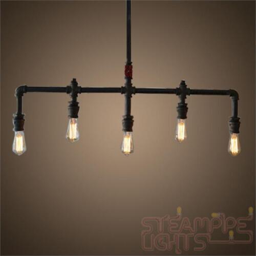 Pipe Light Ceiling Pendant Vintage 5 Bulb Steam Punk Industrial Restaurant Decor