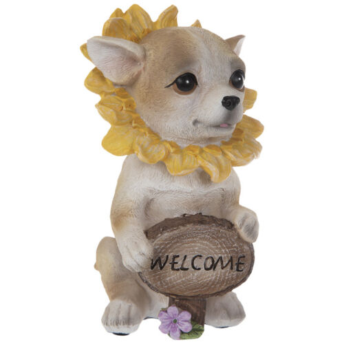Chihuahua Puppy With Yellow Flower Resin Figurine. Cute Home Accent & GIFT