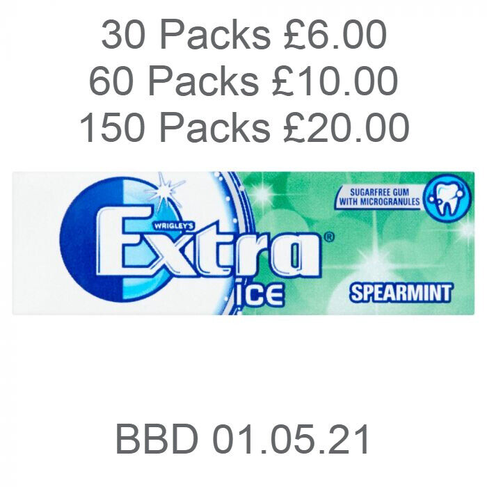 Wrigley's Extra Ice Spearmint Sugar Free Chewing Gum - 30 Packs AS LOW AS £4.00