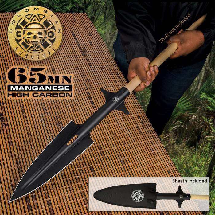 """11"""" EXTRA LARGE Spearhead Hunting Survival Spear Head Carbon Steel Fishing New"""
