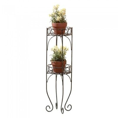 Garden Plant Stands, Two Tiered Verdigris Style Metal Flower Plant Stand - Garden Style Plant Stands