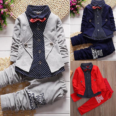 Usa 2Pcs Newborn Toddler Baby Boys Kids Tops Pants Clothes Outfits Gentleman Set