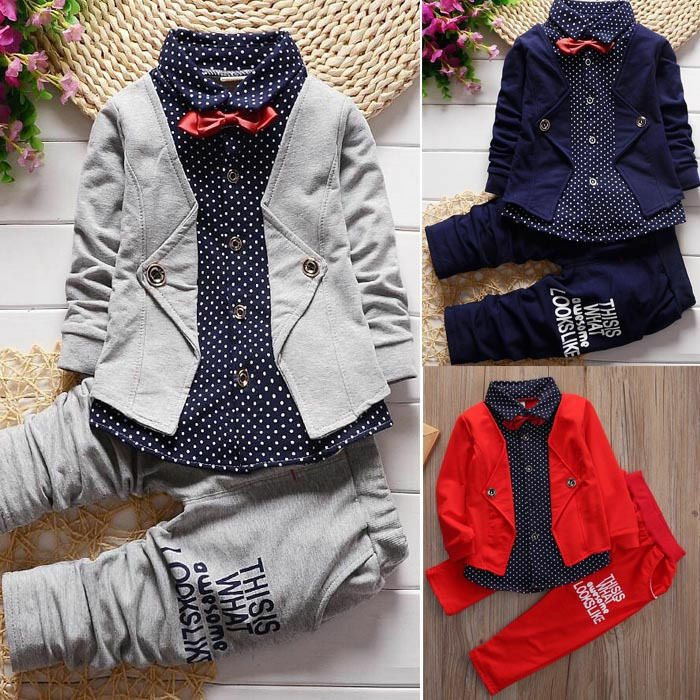 USA 2pcs Newborn Toddler Baby Boys Kids Tops+Pants Clothes Outfits Gentleman Set