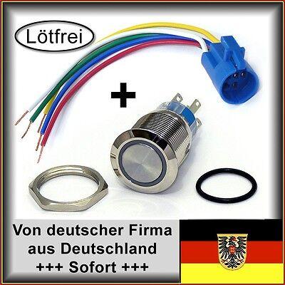 22mm Drucktaster LED rot als Schalter Edelstahl IP67 m. Kabel
