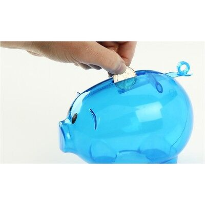 NEW BLUE PLASTIC PIGGY BANK - SAVE COINS AND CASH FUN FOR KIDS - Plastic Piggy Banks For Kids
