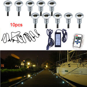 10pcs LED recessed  light kit deck stair marine dock pathway