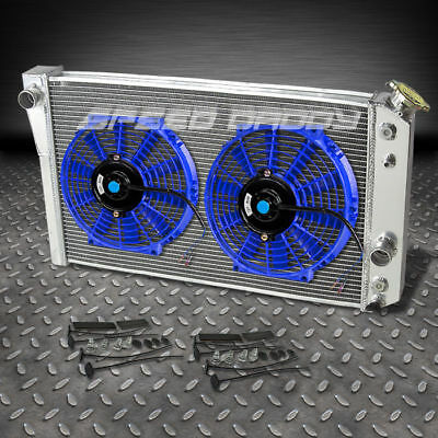 "3-ROW ALUMINUM RACING RADIATOR+2 X 10"" BLUE FANS 1982-2002 CHEVROLET S10/S-10 V8 for sale  Rowland Heights"