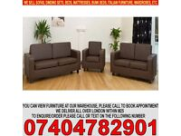 BRAND NEW 3 and 2 Seater Faux Leather Sofa Settee