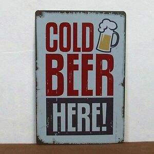 Cold-Beer-Metal-Tin-Sign-BAR-CLUB-HOME-Vintage-Wall-Decor-Old-Time-Decoration