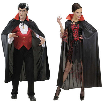 SCHWARZER SATIN UMHANG Halloween Karneval Vampir Dracula Damen - Satin Vampir Cape Kostüme