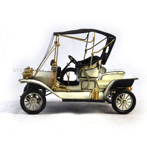 Handmade 1912 White Ford Car 1:12 Tinplate Antique Style Metal Model