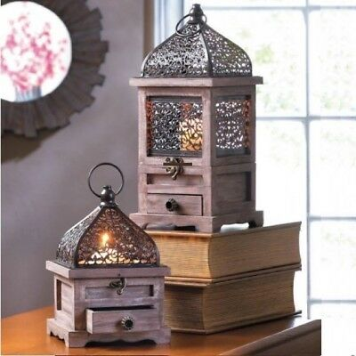 2 Wood Moroccan Lantern Large Small Candle Holder Wedding Centerpieces Set](Wood Wedding Centerpieces)