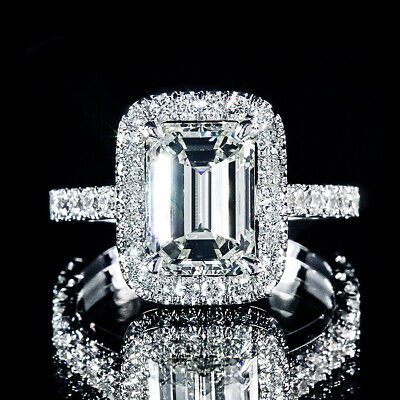 2.11ct GIA Certified Emerald Diamond Halo U Pave Engagement Ring 18K White Gold