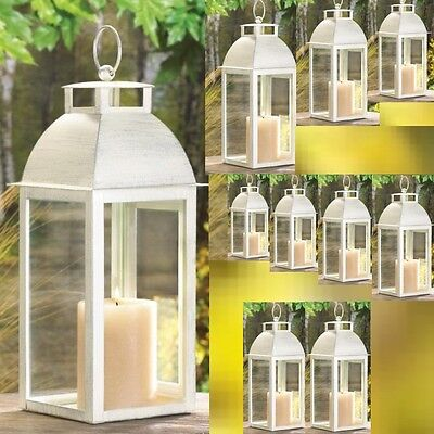 10 Ivory Lantern Weathered Finish Candleholder Wedding Centerpieces](Ivory Lanterns)