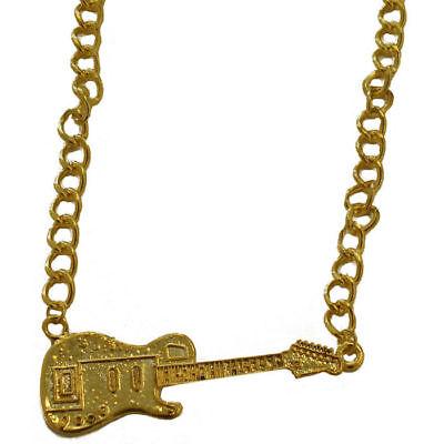 Kette Gitarre, gold Kostümzubehör Elvis Musikerverkleidung Schmuck Goldkette (Kostüm Gold Kette)