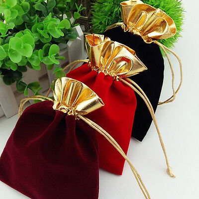 Golden Trim Drawstring Jewelry Pouches Velvet Gift Bags Wedding Favor black Red - Gold Favor Bags