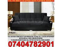 BRAND NEW 3 Seater Fabric Storage Sofa Bed Settee with Wooden Leather Arm rests
