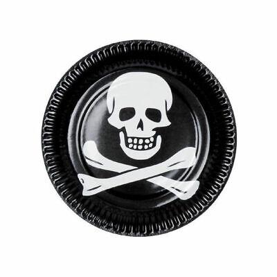Teller Pirat mit Totenkopf, schwarz Ø 23 cm, - Fluch Der Karibik Halloween