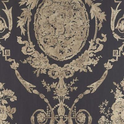Double Roll of Ralph Lauren Wallpaper R$134DR Abbeywood Damask CL Gilded Ebony