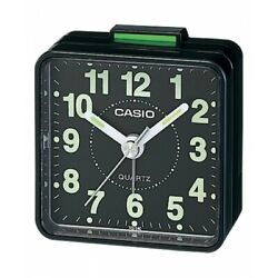 New Casio TQ140-1D Black White Dial Easy Reader Table Top Travel Alarm Clock