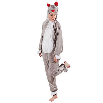 Wolfskostüm Overall mit Kapuze Unisex Verkleidung für Damen und Herren Karneval ()