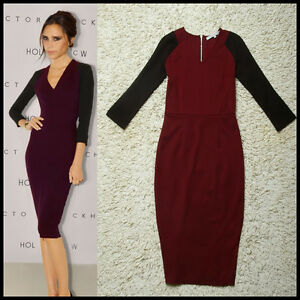 Victoria-Beckham-Style-Sexy-V-neckSlim-Package-Hip-Zippe-Bodycon-Dress