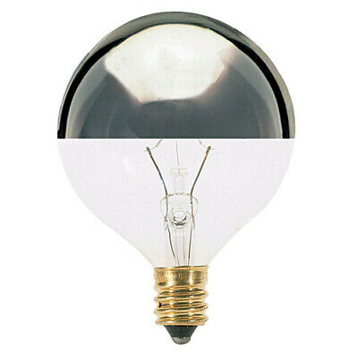 Satco S3246 60W 120V Globe G16.5 Silver Crown E12 Candelabra Base Incand. bulb
