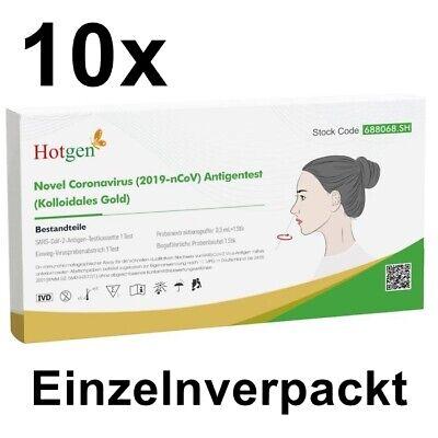 10x Corona Schnelltest Antigen Selbsttest Laientest HOTGEN® Testkit Rapid BfArM