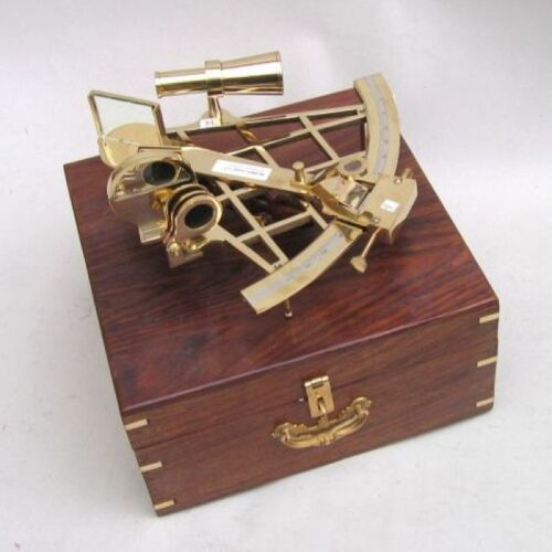 "10"" BRASS SEXTANT WITH WOODEN BOX-NAUTICAL MARITIME"