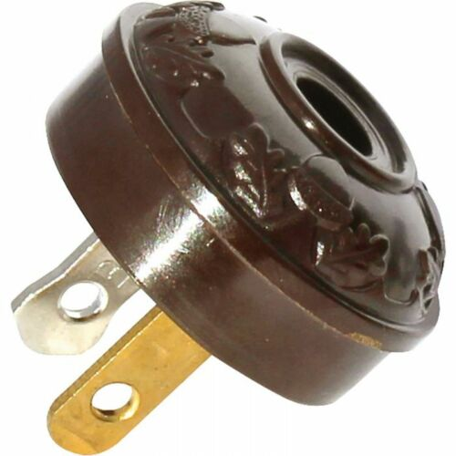 OAK LEAF ~ TRADITIONAL ACORN ~ Antique Style Reproduction Lamp Plug ~ BROWN