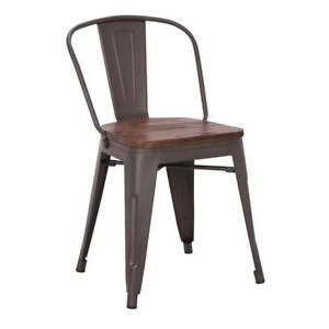 RESTAURANT TOLIX STYLE METAL DINING CHAIR WITH WOOD SEAT OR WITHOUT