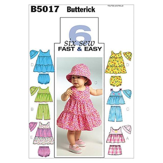 BUTTERICK  SEWING PATTERN INFANTS' TOP DRESS PANTIES SHORTS PANTS & HAT B5017