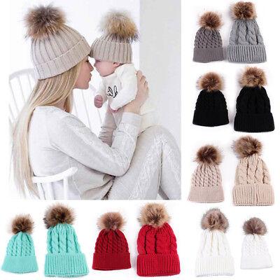 2PSC Mom&Newborn Baby Hats Winter Warm Women Boy Girl Hairball Knit Beanie Caps