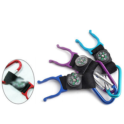 Outdoor Carabiner Water Holder Bottle Clip Strap With Compass Color Random%%